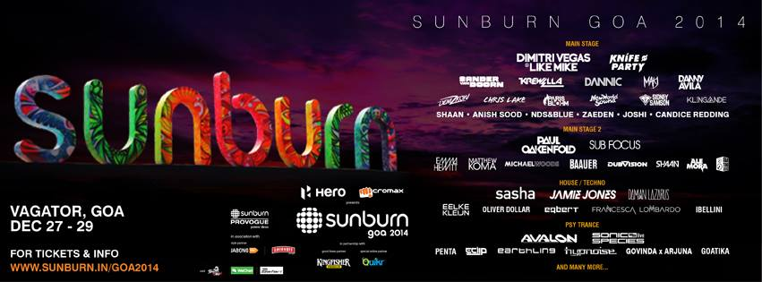 Sunburn 2014 line-up